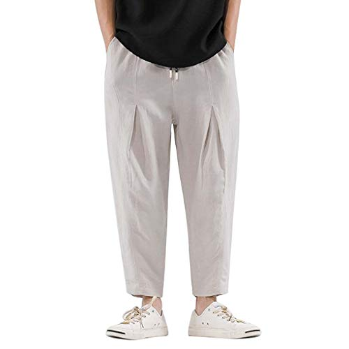 Men's Casual Baggy Pants | Men Stylish Wide Leg Relaxed Fit Jogger Yoga Training Pants | Genie Boho Harem Pants (Short Training Relaxed)