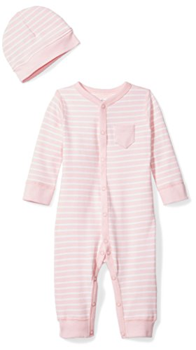 Moon and Back Baby Organic Snap-Front One-Piece Coverall with Cap Set, Pink Blush, 12 Months
