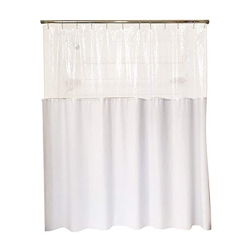 (Sourcing Solutions Clearview Privacy Shower Curtain - Transparent Top and White Bottom - White)
