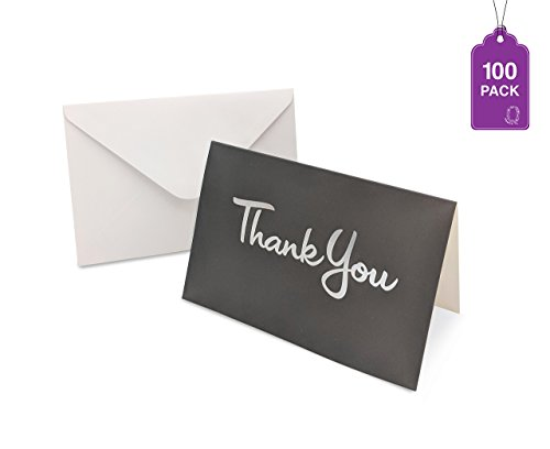 Thank You Cards- Bulk Pack of 100 With Envelopes, Greeting cards With Foil Hot Stamp