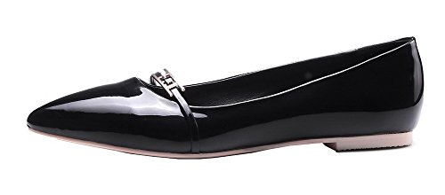VogueZone009 Women's Pointed Closed Toe Patent Leather Solid Pull-On Pumps-Shoes Blackqp VsuPr