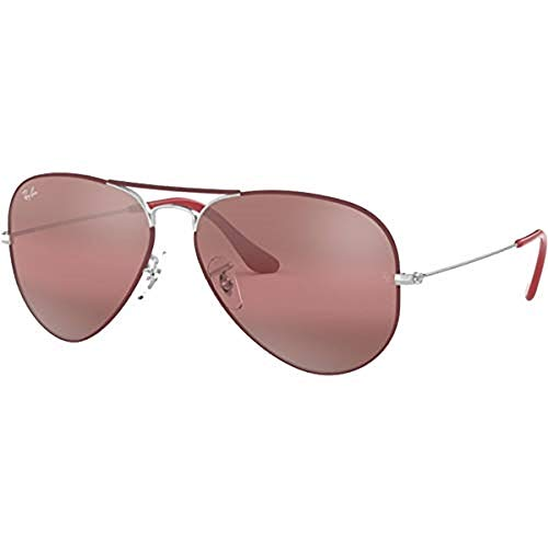 Ray-Ban Unisex RB3025 Original Aviator 55mm Silver/Top Matte Bordeaux/Purple Bi-Mirror Grey/Photo One ()