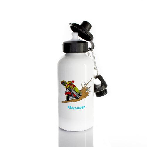 Striefchen® Trinkflasche für Jungen Motiv: Motorrad Name: Alexander