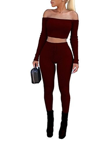 Vamvie Women's Sexy 2 Pieces Off Shoulder Long Sleeve Crop Top+Long Pant Bodycon Jumpsuit Skinny Romper Wine Red XL