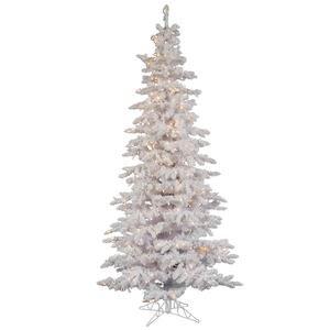 Vickerman Flocked White Slim Tree with Dura-Lit 300 Clear...