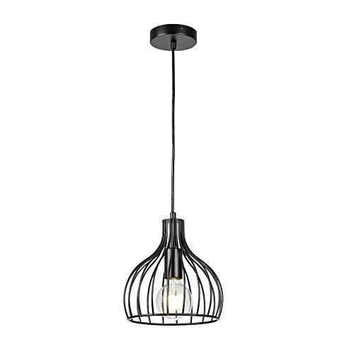 Berliget Antique Black Adjustable Cord Metal Hanging Pendant Light, 1-Light Pendant Lighting for Kitchen Dining Room…