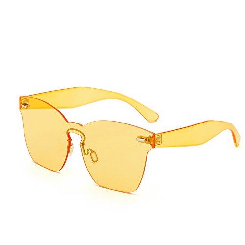 AOME One Piece Rimless Sunglasses Ultra-Bold Colorful Mono Block Glasses (Yellow, 2.4)