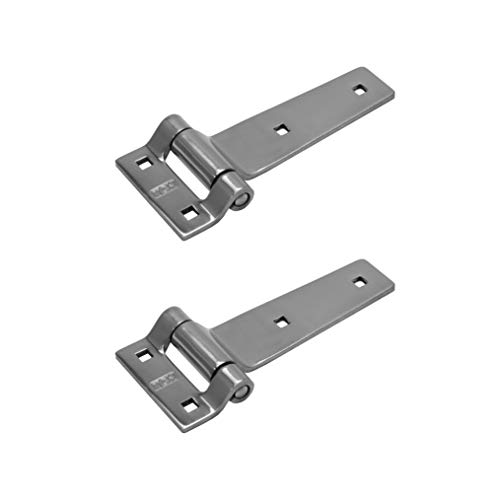 "TCH Hardware 2 Pack 5"" Polished Stainless Steel Strap Tee T Hinge - Garage Barn Door Gate Shed Cargo Trailer Truck"