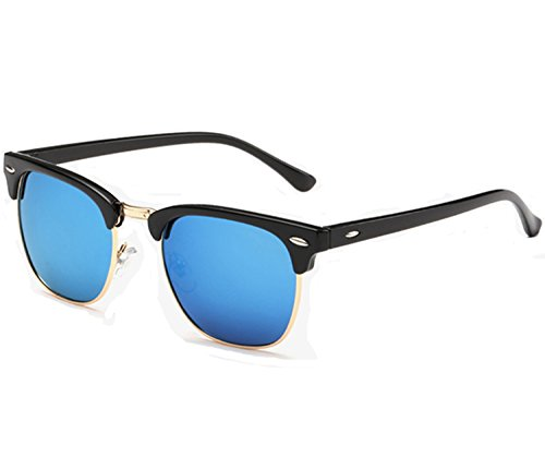 Joopin Semi Rimless Polarized Sunglasses Women Men Brand Vintage Glasses Plaroid Lens Sun Glasses (Blue Mirror - Sunglasses Style Men Clubmaster