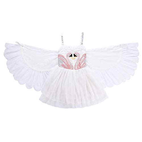 Disney Angle Wing Dress Girl's swan Wing Party Performs Dress, Angel Flamingos Princess Dress, White Halter Dress Angle's Wings (140, Angel)