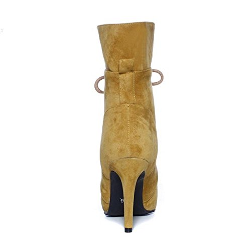 Women Boots H Autumn Yellow Stiletto Elegant Dress COOLCEPT Ankle Up Lace TqHPH