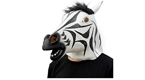 (Deluxe Novelty Halloween Costume Party Latex Animal Head Mask(zebra).Free)