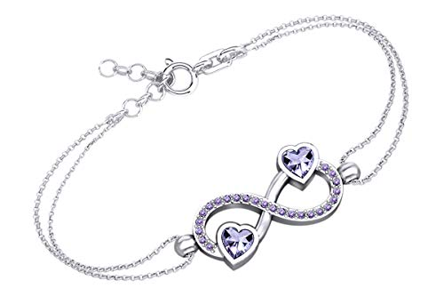 AFFY Heart & Round Shape Simulated Alexandrite Infinity Heart Chain Bracelets in 14k White Gold Over Sterling Silver -7.5