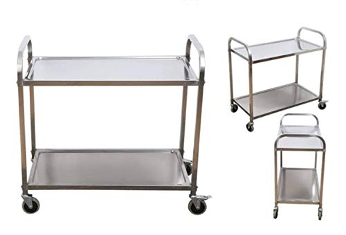 Stainless Steel 2-Shelf Utility Service Storage Cart For Restaurant Catering Hotel Kitchen 400 lb. Capacity Stainless Steel Cart 37.4x20x37.4