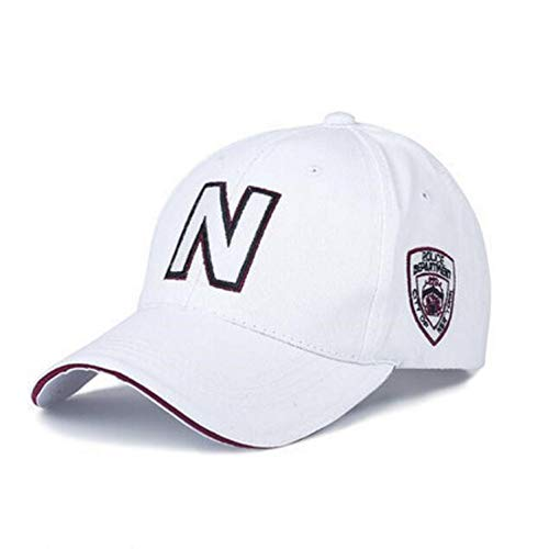 Zipok New Men Baseball Cap Police Cap with N Letter Suede Baseball Hat Women Cap Adjustable for Adult White