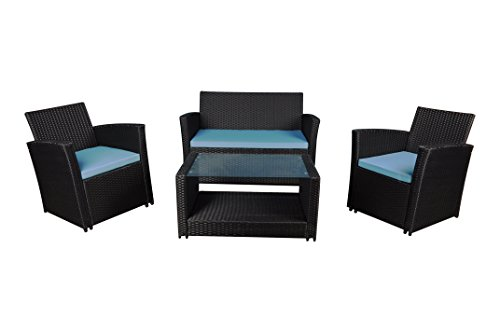 Modern Outdoor Garden, Patio 4 Piece Set - Wicker Sofa Furniture Set (Black/Blue)