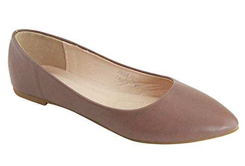 Bella Marie Angie-53 Women's Classic Pointy Toe Ballet Flat Shoes (8, Taupe-pu52)