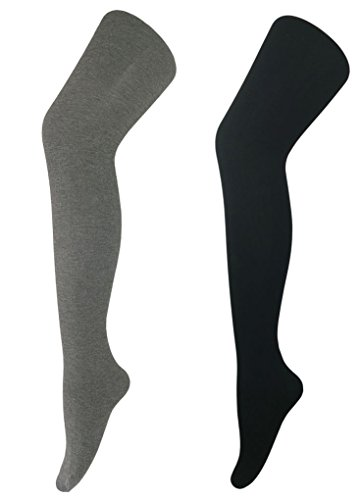 Jeffy & Retro Women's Opaque Cotton Tights PantyHose (Dark Grey + Black) - Comfy Cotton Tights