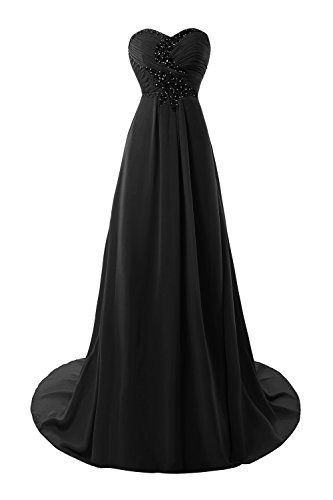 Women's A Prom Black Chiffon Dresses Crystals Bridal 2017 Bess Line 5wt4p14x