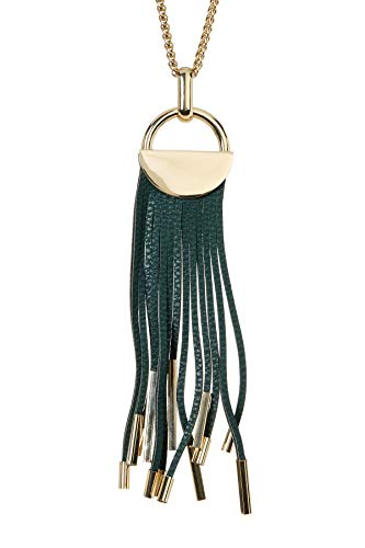 Sterling Forever - Gold Plated Leather Fringe Tassel Reversible Necklace (in Multiple Colors) (Black and Ocean Green)