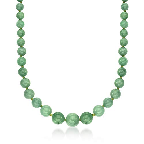 (Ross-Simons 6-13mm Graduated Green Jade Bead Necklace With 14kt Yellow)