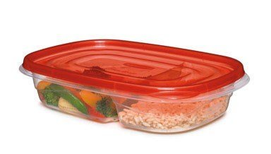 Rubbermaid Divided Container Freezer 29.6 Oz Rectangular Clear Base, Red Lid 3 / Box by Rubbermaid