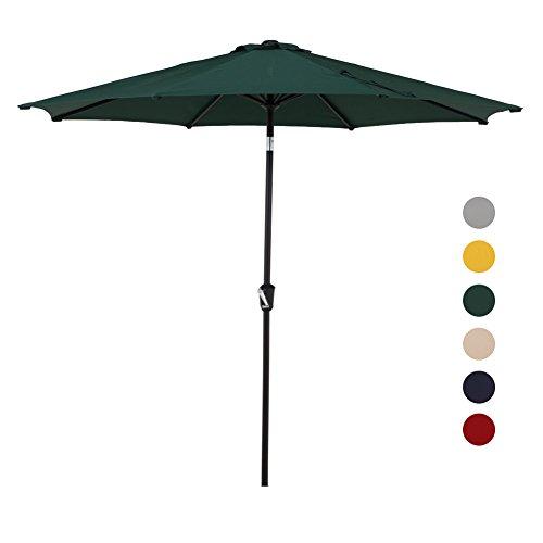 Grand patio 9.7 FT Aluminum Patio Umbrella, 8 Ribs Powder Coated Outdoor Market Umbrella, UV Protective Beach Umbrella with Push Button Tilt and Crank, Green