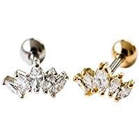 Infinitine 1PCS 5 Clear Cz Tragus Helix Cartilage Cute Minimal Tiara Crown Ear Studs Earring Piercing-Ng