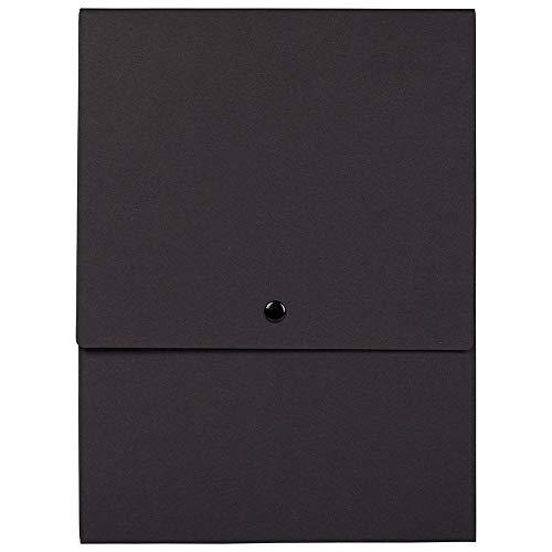 (JAM PAPER Vertical Snap Closure Portfolio - 12 1/8 x 9 x 1/2 - Black Kraft - Sold Individually)