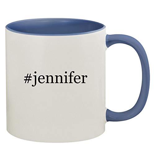 #jennifer - 11oz Hashtag Ceramic Colored Inside & Handle Coffee Mug, Cambridge Blue