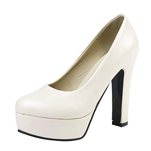 Femme Talon Talons Sexy Blanc Bureau Chaussures Hauts Élégants Plateforme Cuir Escarpins De Soirée Bigtree 6wqxS45fE