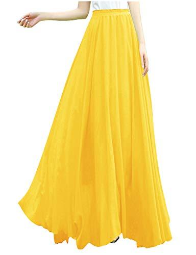 v28 Women Full/Ankle Length Elastic Retro Maxi Chiffon Long Skirt (S,Ligyellow)