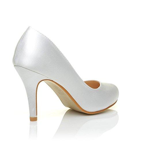 Satin Klassische Pearl High Stiletto Heel Braut Gericht White Schuhe Hvxq6Zwp