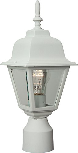 Craftmade Z175-04 Post Mount Light with Beveled Glass Shades, White - Beveled Mount Glass Post