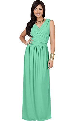 Moss Green Dress - KOH KOH Petite Womens Long Sleeveless Sexy Summer Semi Formal Bridesmaid Wedding Guest Evening Sundress Sundresses Flowy Gown Gowns Maxi Dress Dresses, Moss/Mint Green XS 2-4