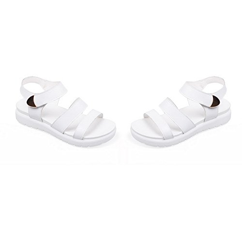 Velcro White Metal Sandals 1TO9 Ornament Girls Casual Polyurethane Ring wIRqHR8