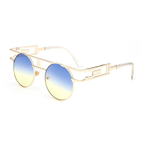 ROYAL GIRL Gothic Steampunk Sunglasses Women Men Round Classic Retro Shades Circle Blue Yellow Ombre - Ombre Shades