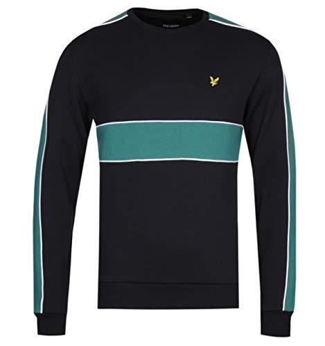 (Lyle & Scott Cut & Sew Black & Sage Green Sweatshirt - Large)