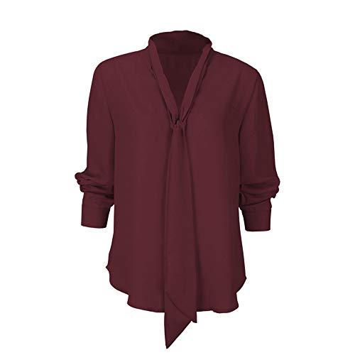 Papillon con Rosso Scollo Rojeam V Lunghe Lunghe con Camicia da in Maniche a a Donna Maniche Chiffon a xqR4za