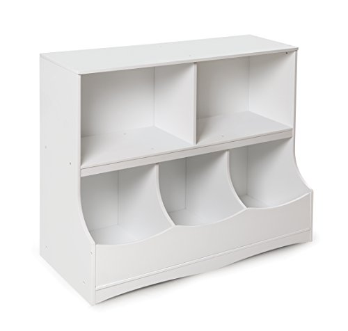 Multi-Bin Storage Organization 2 Shelf and 3 Bin Cubby Unit
