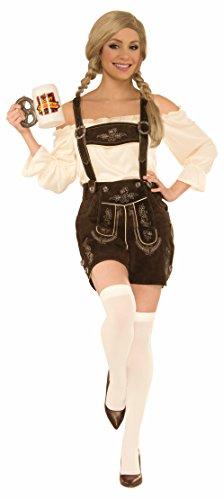 Leather Overalls Costume (Forum Women's Deluxe Leather Lederhosen Costume, Brown, Medium)