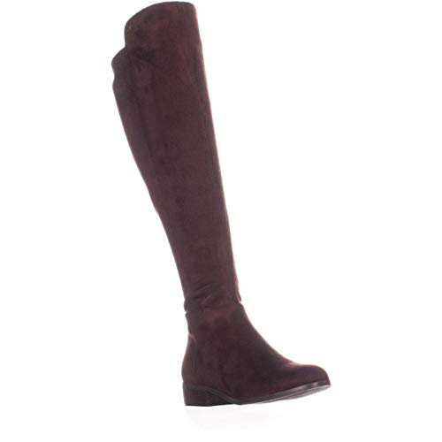- Michael Kors MK Women's Tall Suede Bromley Flat Riding Boots Shoes Damson (5)