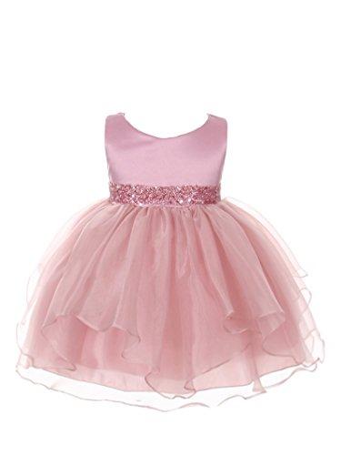 Infant Dusty Rose Apparel - Chic Baby Girls Asymmetric Ruffles Satin/Organza Flower Girl Dress