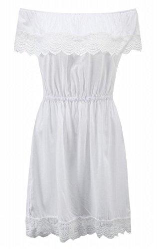 Lace Summer Jaycargogo Off Women's White Trim Mini Shoulder Dress FZ5qIn5xwH