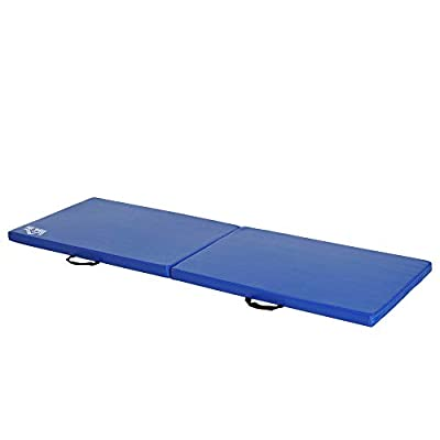 Homcom Tapis de Gymnastique Yoga Pilates Fitness Pliable Portable Grand Confort 180L x 60l x 5H cm Simili Cuir