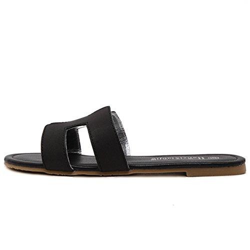 Sandale Confort pour Mules Chaussons Plats Femmes JITIAN Mode Bout Chaussures Casual Été Rond Noir Ouvert nXgHUpAx