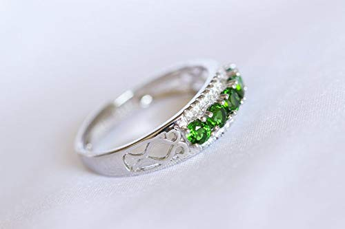 All Natural Green Chrome Diopside Ring, White Gold Plated Sterling Silver Rings, Engagement Cocktail Wedding Ring, Art Deco ()