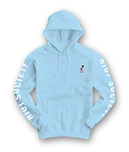 Riot Society Beer Can Rose Embroidered Mens Hoodie - Light Blue, X-Large