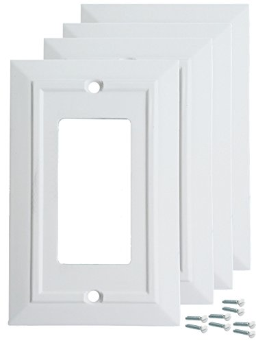 Pack of 4 Wall Plate Outlet Switch Covers by SleekLighting | Classic Architecture Wall plates| Variety of Styles: Decorator/Duplex/Toggle/Blank/& Combo | Size: 1 Gang Decorator