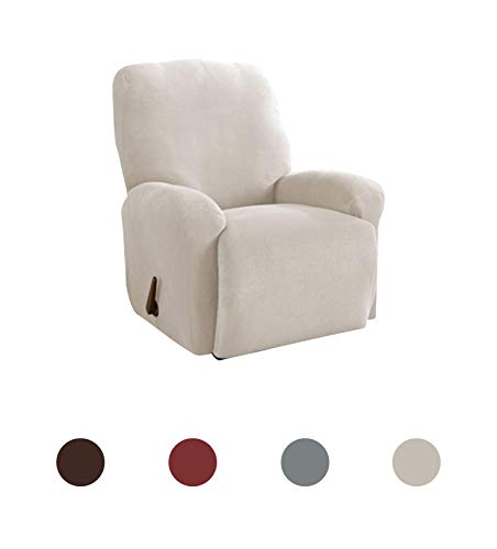 Slip-Resistant Form Fitting Recliner Slipcover, Lightweight Ultra Durable Stretch Grid Fabric (Putty, 4-Piece) ()